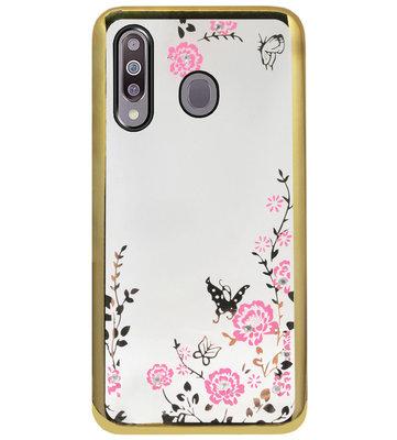 ADEL Siliconen Back Cover Softcase Hoesje voor Samsung Galaxy M30 - Glimmend Glitter Vlinder Bloemen Goud