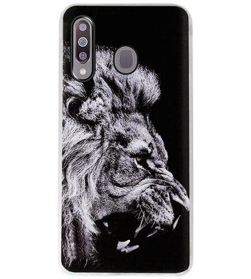 ADEL Siliconen Back Cover Softcase Hoesje voor Samsung Galaxy M30 - Leeuw Zwart