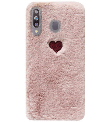 ADEL Siliconen Back Cover Softcase Hoesje voor Samsung Galaxy M30 - Hartjes Roze