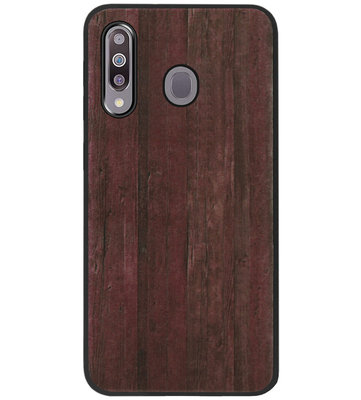 ADEL Siliconen Back Cover Softcase Hoesje voor Samsung Galaxy M30 - Hout Design Bruin
