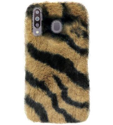 ADEL Siliconen Back Cover Softcase Hoesje voor Samsung Galaxy M30 - Luipaard Fluffy Bruin