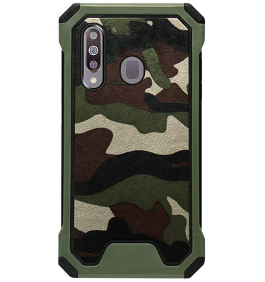ADEL Kunststof Bumper Case Hoesje voor Samsung Galaxy M30 - Camouflage Groen