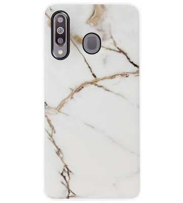ADEL Siliconen Back Cover Softcase Hoesje voor Samsung Galaxy M30 - Marmer Goud