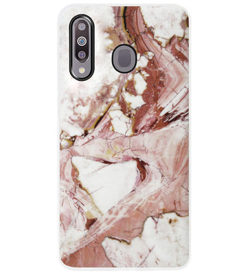ADEL Siliconen Back Cover Softcase Hoesje voor Samsung Galaxy M30 - Marmer Rood