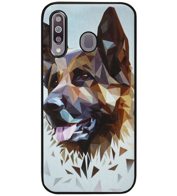ADEL Siliconen Back Cover Softcase Hoesje voor Samsung Galaxy M30 - Duitse Herder Hond
