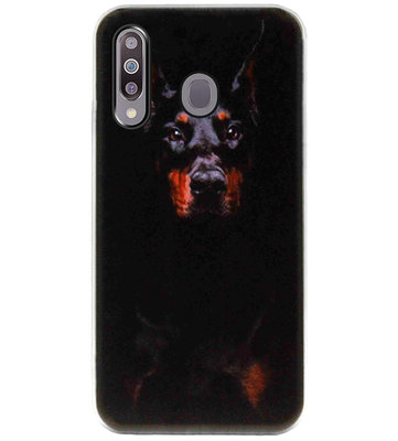 ADEL Siliconen Back Cover Softcase Hoesje voor Samsung Galaxy M30 - Dobermann Pinscher Hond