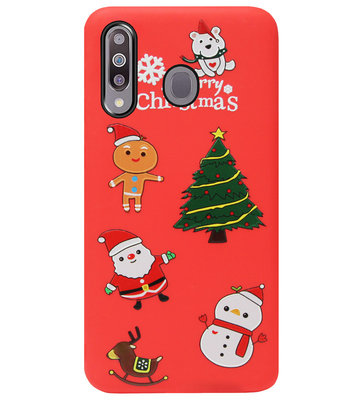 ADEL Siliconen Back Cover Softcase Hoesje voor Samsung Galaxy M30 - Kerstmis Rood