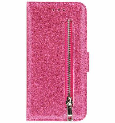 ADEL Kunstleren Book Case Pasjes Portemonnee Hoesje voor Samsung Galaxy M30 - Bling Bling Glitter Roze