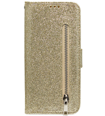 ADEL Kunstleren Book Case Pasjes Portemonnee Hoesje voor Samsung Galaxy M30 - Bling Bling Glitter Goud