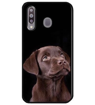 ADEL Siliconen Back Cover Softcase Hoesje voor Samsung Galaxy M30 - Labrador Retriever Hond Bruin