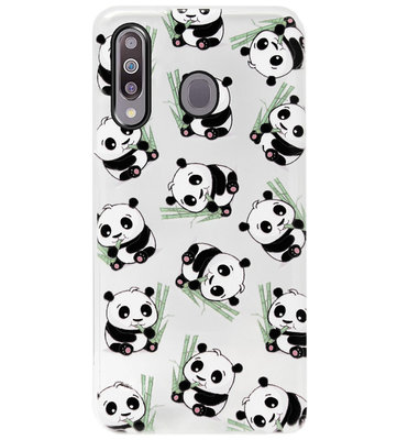 ADEL Siliconen Back Cover Softcase Hoesje voor Samsung Galaxy M30 - Panda Liggend
