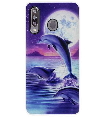 ADEL Kunststof Back Cover Hardcase Hoesje voor Samsung Galaxy M30 - Dolfijn Blauw