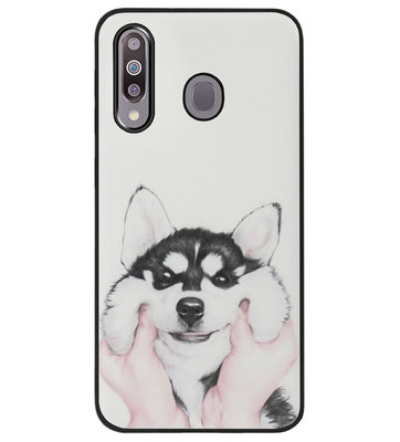 ADEL Siliconen Back Cover Softcase Hoesje voor Samsung Galaxy M30 - Husky Hond