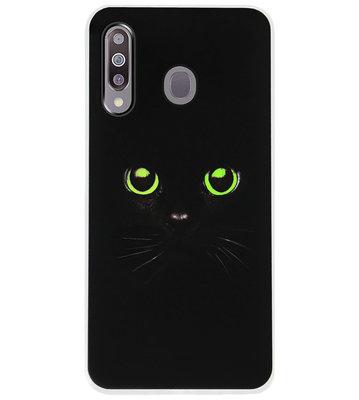 ADEL Siliconen Back Cover Softcase Hoesje voor Samsung Galaxy M30 - Katten Zwart Groene Ogen