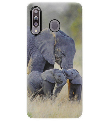 ADEL Siliconen Back Cover Softcase Hoesje voor Samsung Galaxy M30 - Olifant Familie