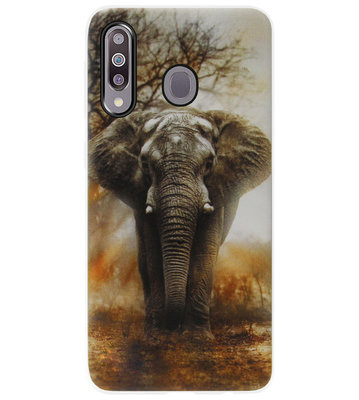 ADEL Siliconen Back Cover Softcase Hoesje voor Samsung Galaxy M30 - Olifanten