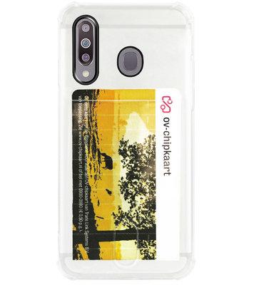 ADEL Siliconen Back Cover Softcase Hoesje voor Samsung Galaxy M30 - Pasjeshouder Doorzichtig
