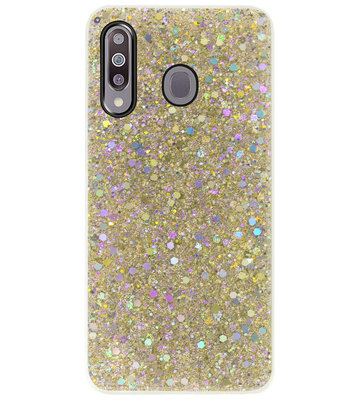 ADEL Premium Siliconen Back Cover Softcase Hoesje voor Samsung Galaxy M30 - Bling Bling Glitter Goud