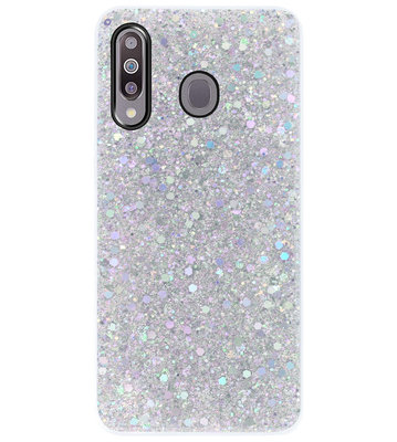 ADEL Premium Siliconen Back Cover Softcase Hoesje voor Samsung Galaxy M30 - Bling Bling Glitter Zilver