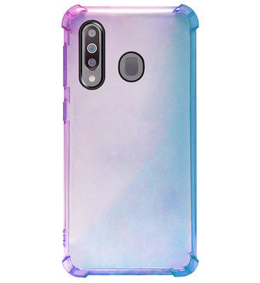 ADEL Siliconen Back Cover Softcase Hoesje voor Samsung Galaxy M30 - Kleurovergang Blauw Paars