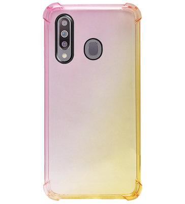 ADEL Siliconen Back Cover Softcase Hoesje voor Samsung Galaxy M30 - Kleurovergang Roze Geel