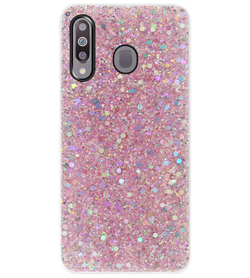 ADEL Premium Siliconen Back Cover Softcase Hoesje voor Samsung Galaxy M30 - Bling Bling Roze