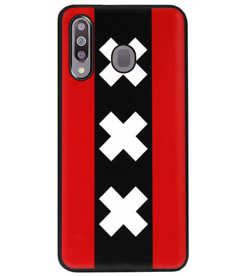 ADEL Siliconen Back Cover Softcase Hoesje voor Samsung Galaxy M30 - Amsterdam Andreaskruisen