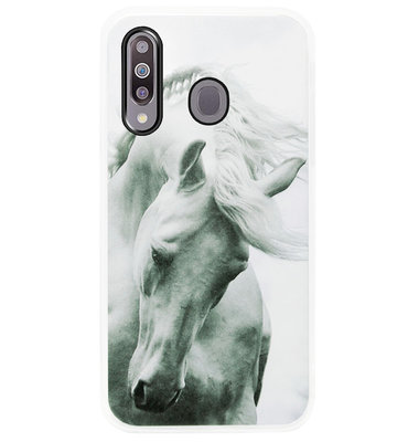 ADEL Siliconen Back Cover Softcase Hoesje voor Samsung Galaxy M30 - Paarden Wit