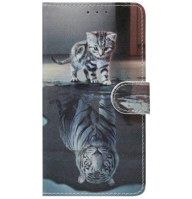 ADEL Kunstleren Book Case Pasjes Portemonnee Hoesje voor Samsung Galaxy M30 - Poezen Tijger