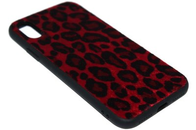 ADEL Siliconen Back Cover Hoesje voor iPhone XS/X - Rode Luipaard