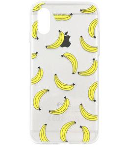 ADEL Siliconen Back Cover Softcase Hoesje voor iPhone XS/ X - Bananen Geel