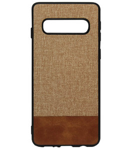 ADEL Siliconen Back Cover Softcase Hoesje voor Samsung Galaxy S10 - Stoffen Design Bruin