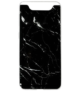 ADEL Siliconen Back Cover Softcase Hoesje voor Samsung Galaxy A80/ A90 - Marmer Zwart