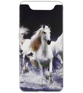 ADEL Siliconen Back Cover Softcase Hoesje voor Samsung Galaxy A80/ A90 - Paarden Wit