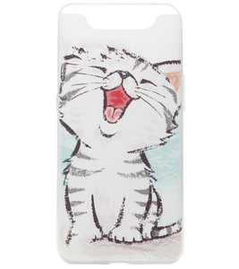 ADEL Siliconen Back Cover Softcase Hoesje voor Samsung Galaxy A80/ A90 - Lieve Kat