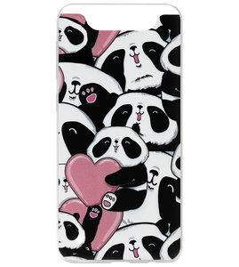 ADEL Siliconen Back Cover Softcase Hoesje voor Samsung Galaxy A80/ A90 - Panda Hartjes