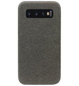 ADEL Kunststof Back Cover Hardcase Hoesje voor Samsung Galaxy S10 - Stoffen Design Grijs