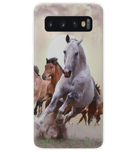ADEL Siliconen Back Cover Softcase Hoesje voor Samsung Galaxy S10 - Paarden Wit Bruin