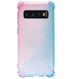 ADEL Siliconen Back Cover Softcase Hoesje voor Samsung Galaxy S10 - Kleurovergang Roze Blauw