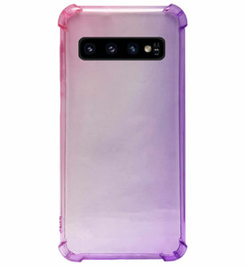 ADEL Siliconen Back Cover Softcase Hoesje voor Samsung Galaxy S10 - Kleurovergang Roze Paars