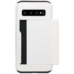 ADEL Kunststof Back Cover Hardcase Hoesje voor Samsung Galaxy S10 - Pasjeshouder Wit