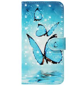 ADEL Kunstleren Book Case Pasjes Portemonnee Hoesje voor Samsung Galaxy S10 - Vlinder Blauw